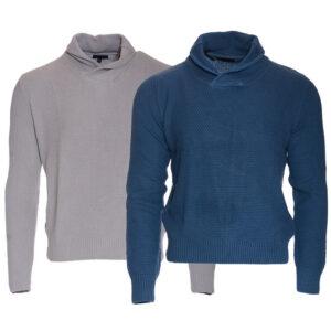 mens plain jumper shawl neck 100% cotton knitwear top pullover sweater m - 2xl