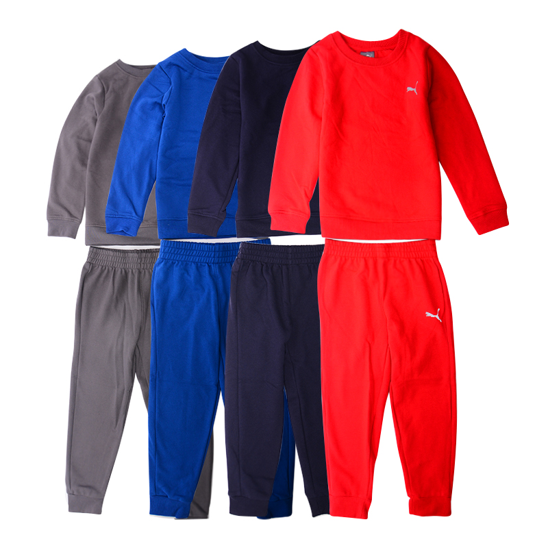 puma kids cotton full tracksuit sweatshirt joggers set boys tops bottoms outwear