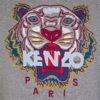 kenzo sweat mens hoodie jumper pullover long hooded sweatshirt tiger print grey