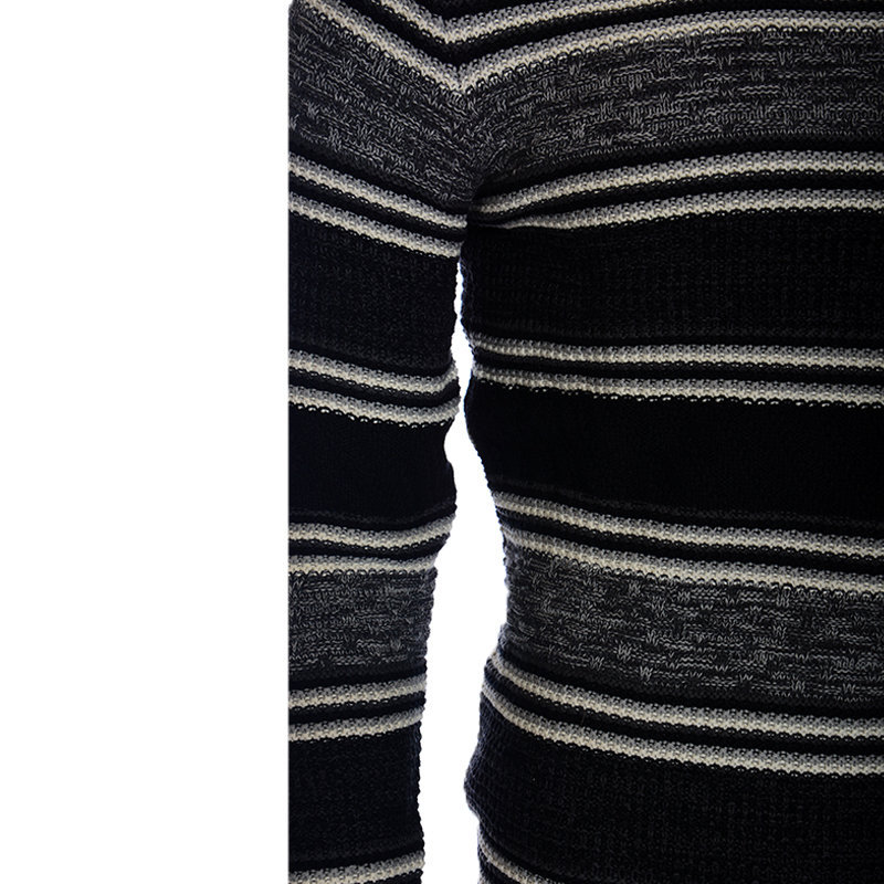mens sweatshirts knitted heavy casual jumper retro regular fit stripped sweaters