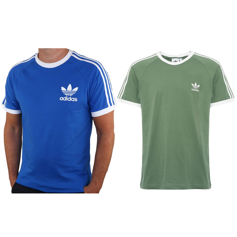 adidas mens 3 stripe t shirt retro sport california crew neck summer gym wear