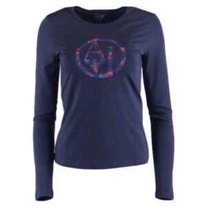 armani jeans 7v5t04 womens t shirt crew neck cotton long sleeve casual tee navy