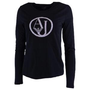 armani jeans 7v5t04 5j00z womens t shirt crew neck long sleeve casual tee black