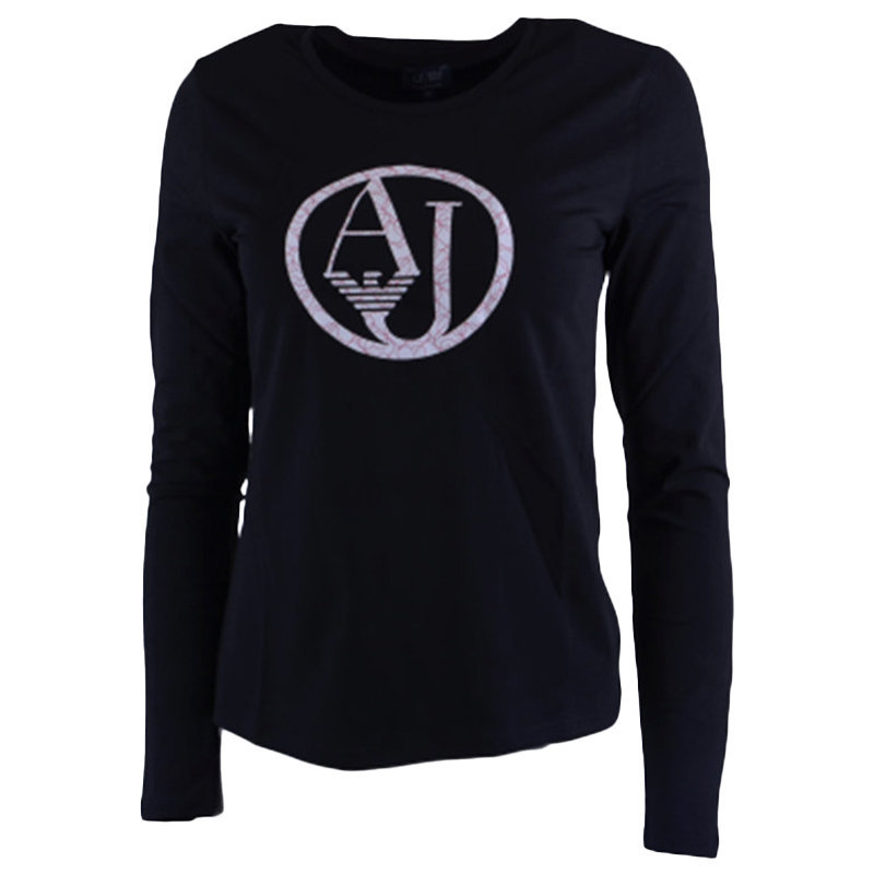 armani jeans 7v5t04 5j00z womens t shirt crew neck long sleeve casual tee black
