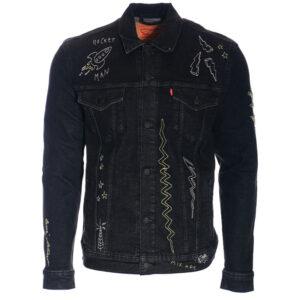 levi's t1712 mens denim jacket classic button limited edition black jeans cotton