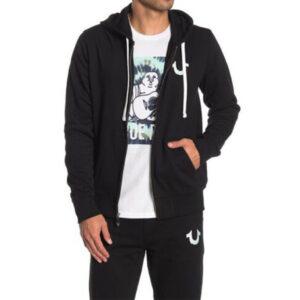 true religion 101917 mens hooded fleece casual top zip hoodie cotton sweatshirt
