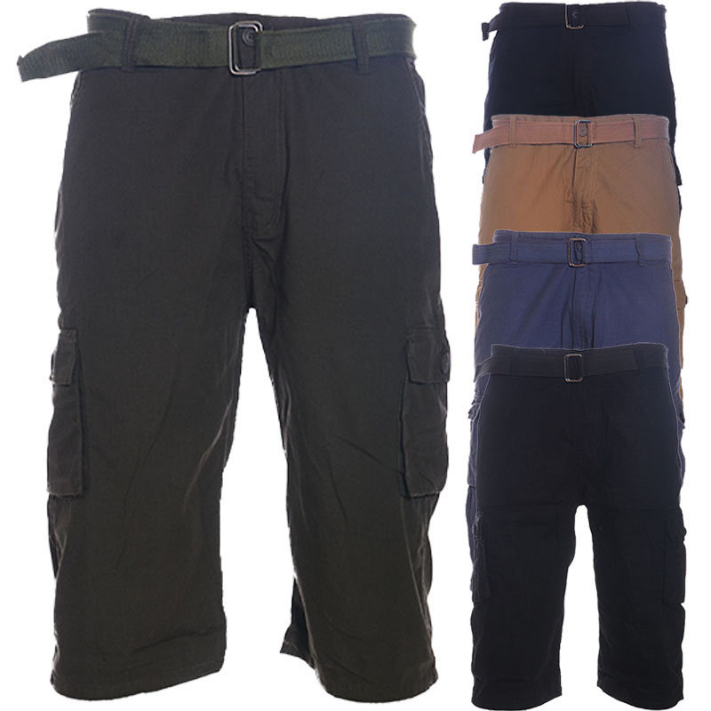 mens belted chino men shorts knee length roll up work pants cotton combat summer