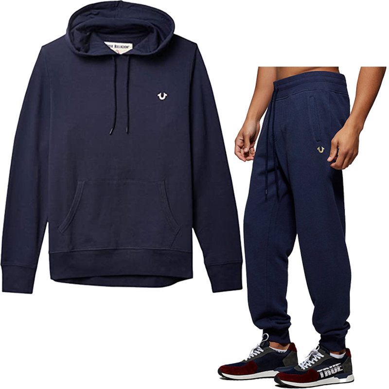 true religion 103224 mens hoodie casual hooded cotton top sweatshirt navy jogger