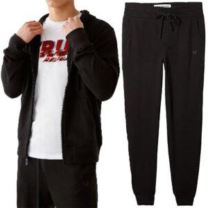 true religion 101422 mens hoodie casual hooded cotton top sweatshirt jogger