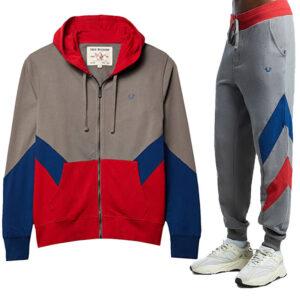 true religion 101957 mens casual hoodie track cotton top sweatpant fleece jogger