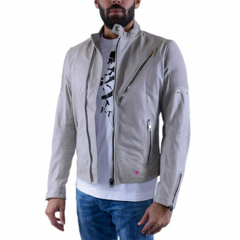 diesel mens biker jacket genuine leather slim fit coat vintage retro classic