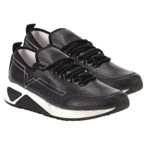 diesel s kby mens trainers leather lace up sports casual sneakers black shoes