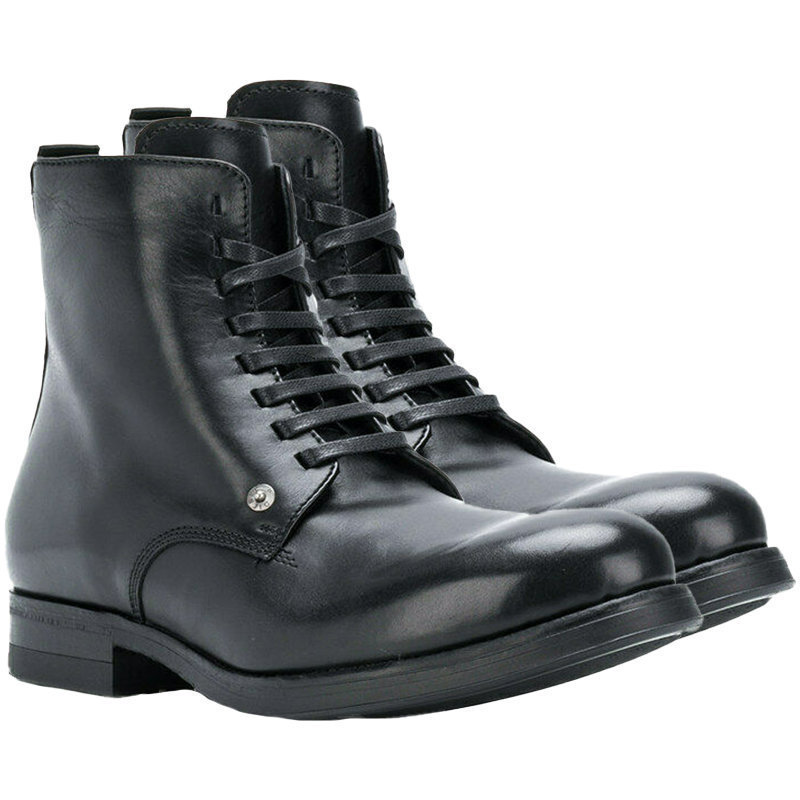 diesel d vicious mens genuine hi top leather boots casual lace up black shoes