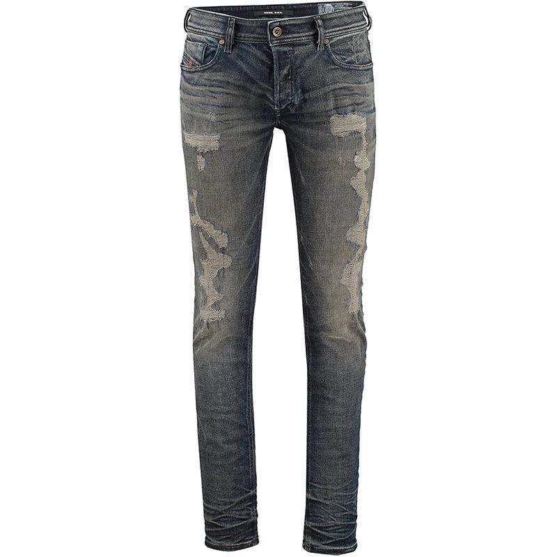 diesel sleenker 084dl mens denim slim fit skinny jeans faded stretch cotton pant