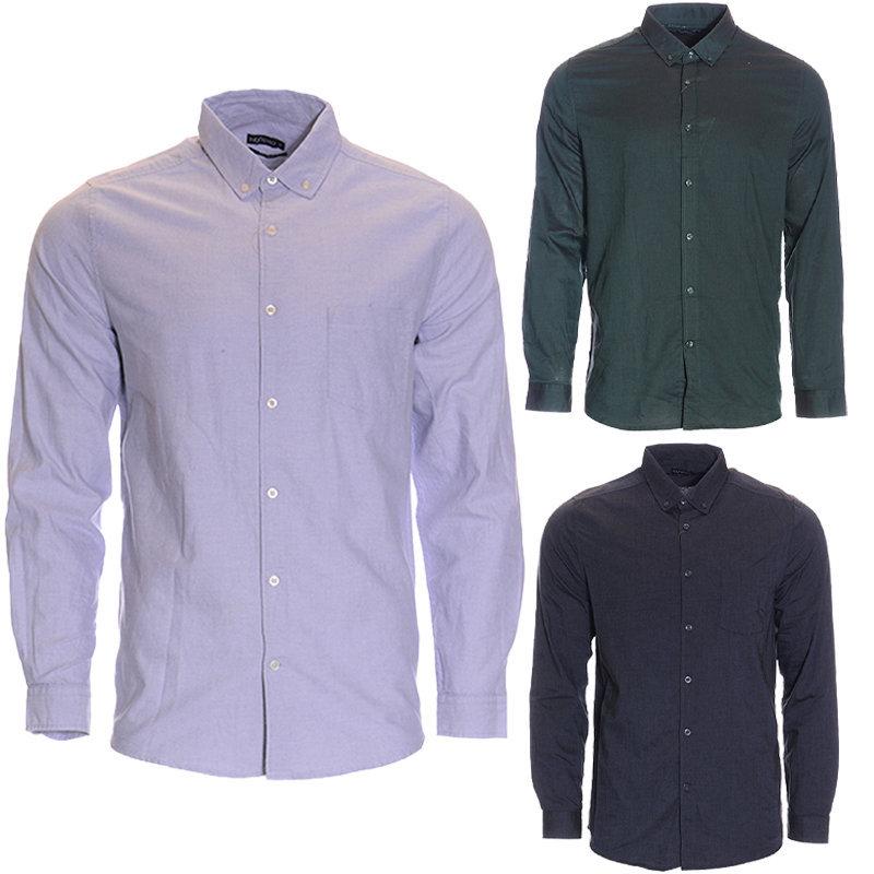 mens plain shirt formal regular fit casual cotton long sleeve oxford work smart