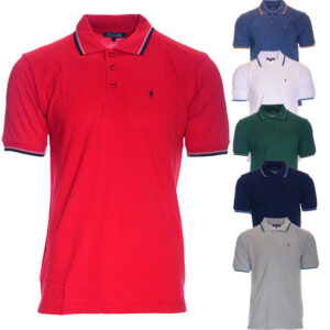 mens polo shirt short sleeve regular fit casual cotton golf tee logo top t-shirt