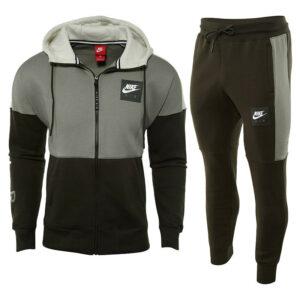 nike air mens hoodie club zip hoody full tracksuit cotton arm print hoody/jogger