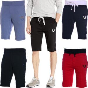 true religion mens shorts casual cotton knee summer regular bermuda half pants