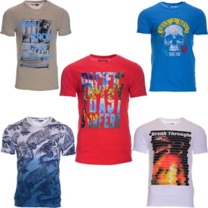 new mens t shirts printed cotton short sleeve crew neck summer beach tees top