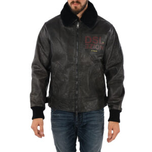 diesel l bowdre mens bomber jacket leather padded quilted winter regular coat 1 of 10