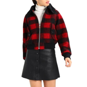 diesel w rosie womens jacket quilted buffalo cropped check winter outwear wool