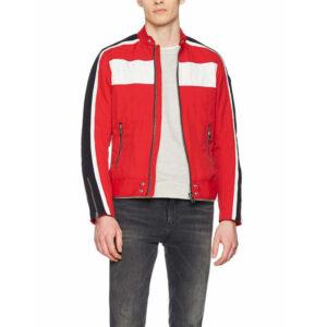diesel j street mens biker jackets slim summer outwear bomber casual coat red
