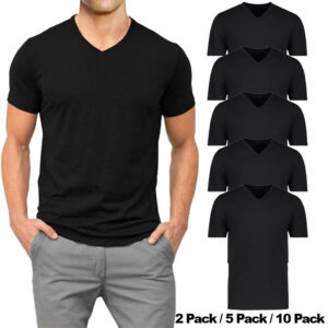 mens t shirt short sleeve packs v neck regular fit casual cotton black tee